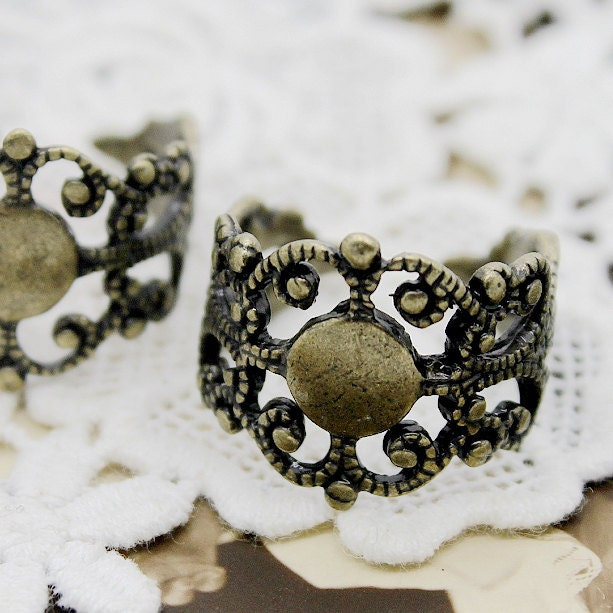 50PCS Strong Adjustable Antique Bronze plated Raw Brass Rings jewelry ring blank setting With 8mm Pad Nickel Free-(RINGSS-37) steampunk buy now online