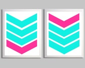 Southwestern Arrows Art Prints Turquoise Hot Pink more colors available set of 2 each 8x10
