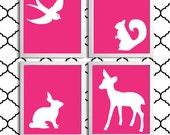 Nursery Art Girl Forest Animals Hot Pink set of 4 each 11x14