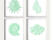 Beach Cottage Seafoam Seashells Nautical more colors available set of 4 each 11x14
