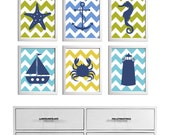 Beach Nursery Art Chevron Ocean Seaside Blue Mustard Green more colors available set of 6 each 8x10