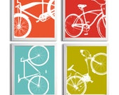 Bicycle Art Silhouette Orange Turquoise Lime Tomato set of 4 prints each 11x14