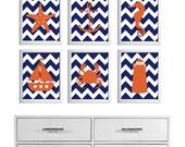 Kids Wall Art Beach Nursery Art Chevron Ocean Seaside Blue Navy Orange more colors available set of 6 each 8x10