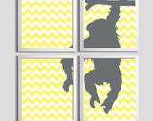 Nursery Art Chevron Boy Girl Monkey Jungle Zoo Lemon Yellow Slate Grey Silhouette set of 4 prints each 11x14