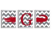 Personalized Kids Wall Art Girl Boy Art Alligator Stripes Preppy Red Grey Zoo Safari Jungle Wetlands Set of 3 each 11x14