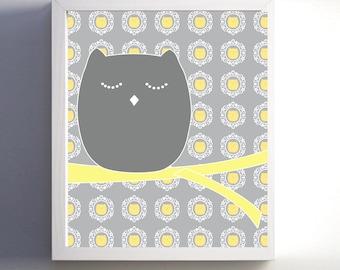 Nursery Owl Yellow Gray Art Print 8x10