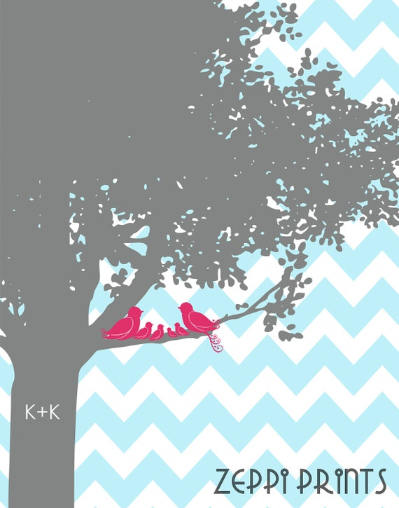 Family Tree Chevron nursery wedding love birds initials personalized turquoise colors 11x14