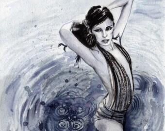 Blue Swim/ Illustration Print