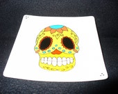 Hand painted small square plate: Mexican Skull 6