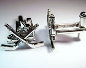 Silver Hockey Skate Cuff Links