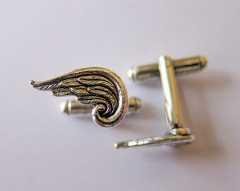 Silver Angel Wing Cuff Links