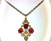 Antique and Ornate Garnet & Gold Necklace