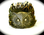 Beautiful and Unique Brass Feathered Owl Cuff