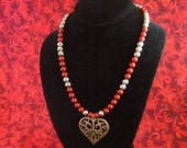 Valentine Necklace with Vintage Heart Pendant