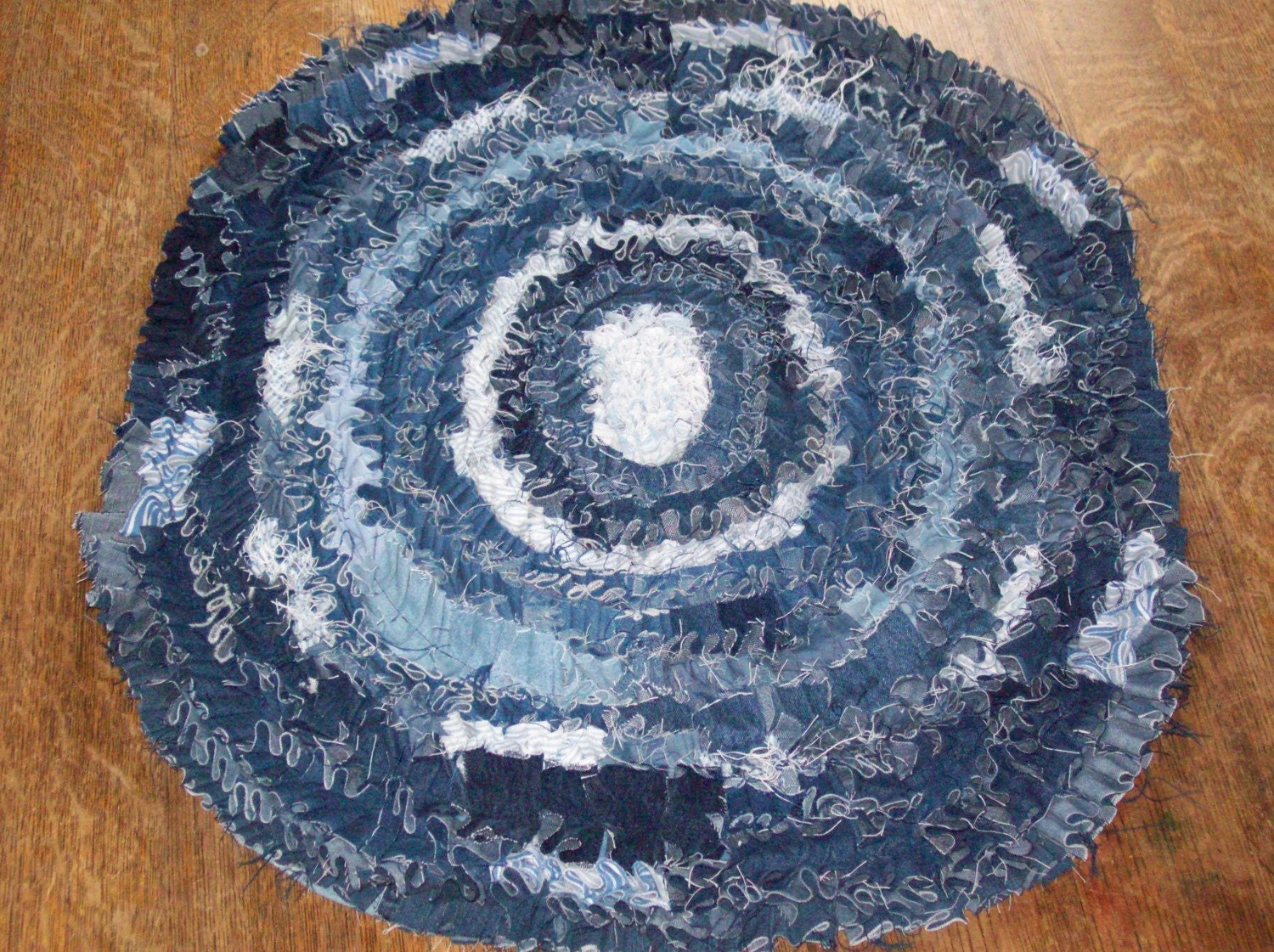 Round Recycled Denim Scatter Rug