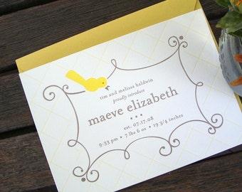 Letterpressed Baby Announcements - Frame