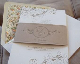 Letterpressed Wedding Invitations - Scroll