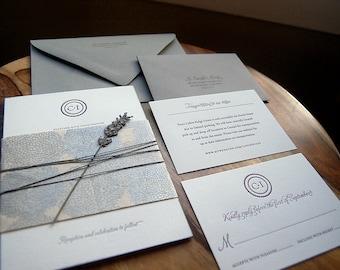 Letterpressed Wedding Invitations - Circle Monogram