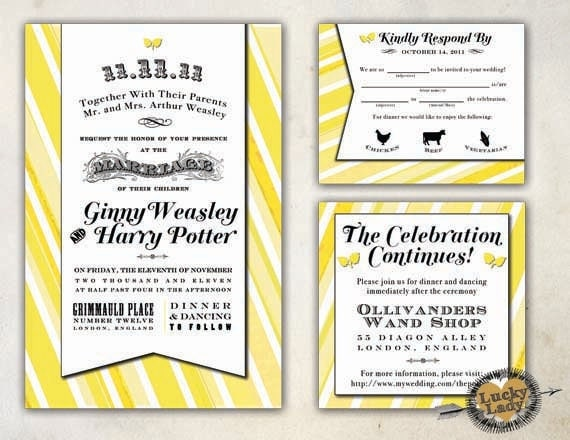 Classic Elegant Vintage Modern Candy Stripe Antique Poster Style Wedding Invitation Set by Luckyladypaper - CUSTOM CARD ORDER