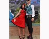 Red Sugar Skull Dia de los Muertos Rockabilly Punk Halter Dress