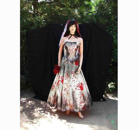 Blood Splattered Undead Vampire Zombie Bride Prom Queen