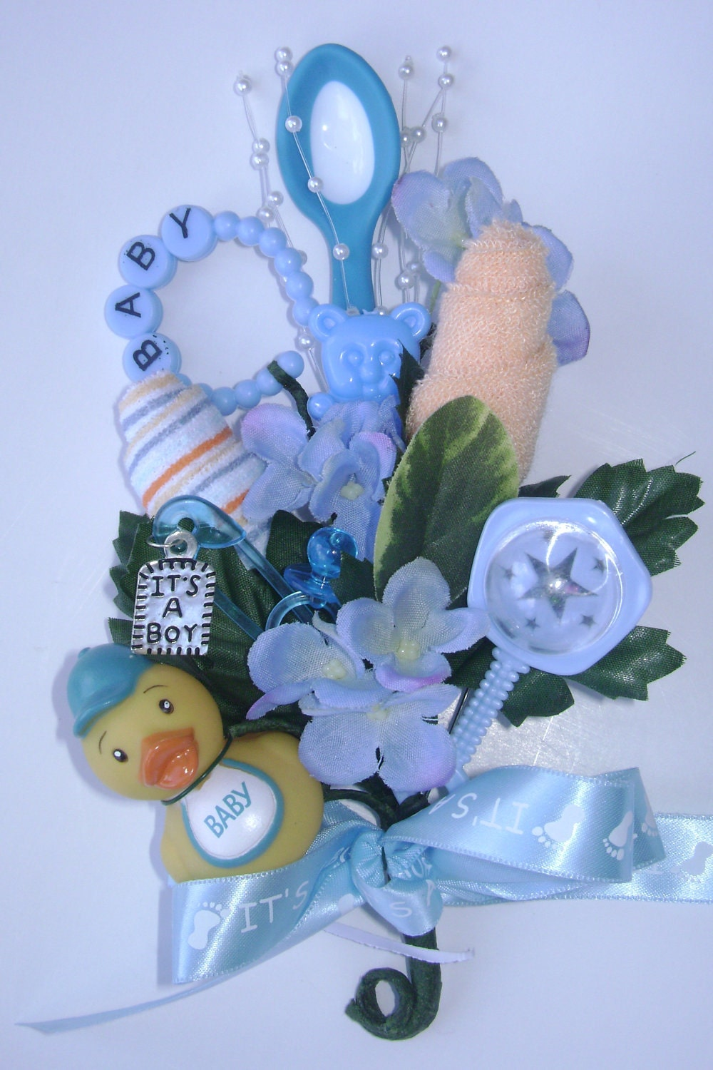 baby shower corsage baby boy washcloth corsage by nonisniche