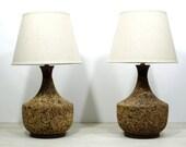 Pair of Mid-Century Cork Lamps
