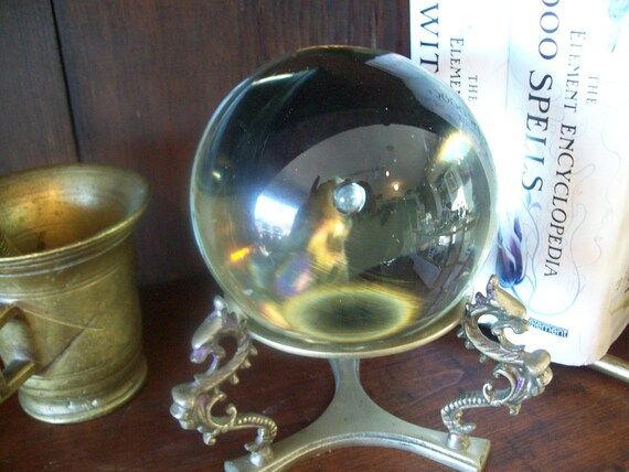 Antique Crystal Ball with Brass Dragon Stand