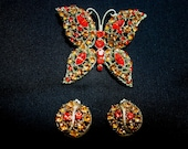 Gorgeous Orange and Gold Butterfly Brooch and Earrings