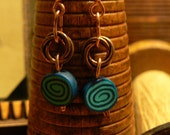 Polymer clay and copper earrings