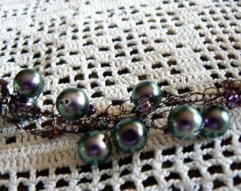 Crocheted purple pearl necklace