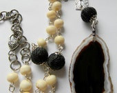 Black and White exotic necklace