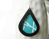 Wood Necklace - Sterling Silver, Pendant, Modern, Turquoise Blue, White, Original Art Painting, Wood, Mod, Jewelry, Jewellery