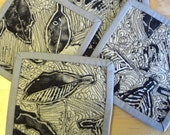 After the Rain Mini Mats or Coasters - Set of 4 subtle hand-printed mats with beautiful textural quilting.