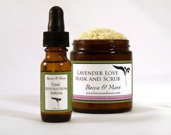 Spa Set - Lavender Love Facial Mask/Scrub and Time Revolution Serum - Regular Size