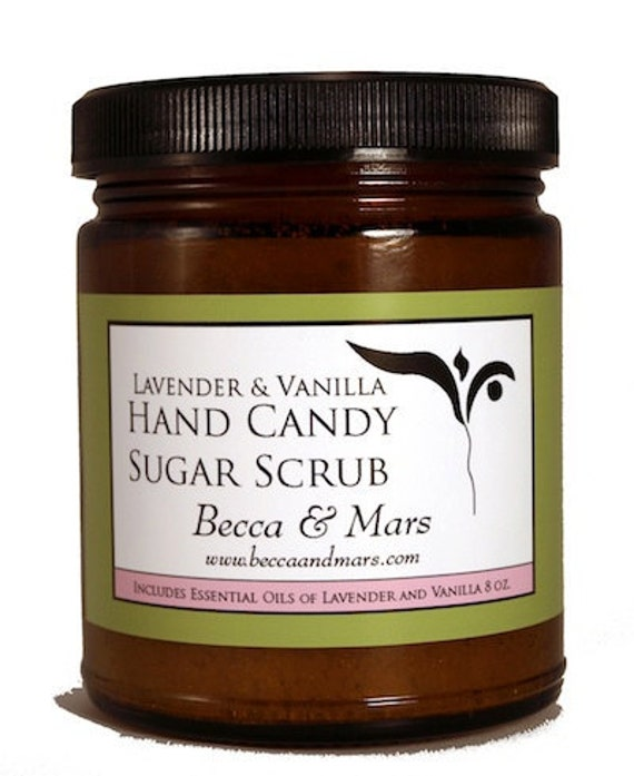 Lavender Vanilla Hand Candy Sugar Scrub 8oz by BeccaAndMars