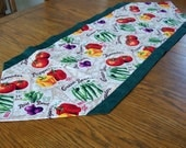 Autumn Vegetable Table Runner with Green fabric - Kitchen Decor, Fall Harvest, Table Decoration