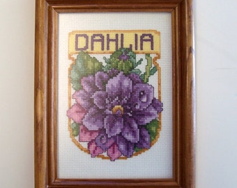 SALE Flower Cross Stitch Completed of Purple Dahlia Flower in Wood Frame - Finished Cross Stitch, Flower Cross Stitch, Complete X Stitch