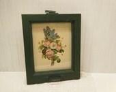 Old Window turned Frame on Vintage Floral Print