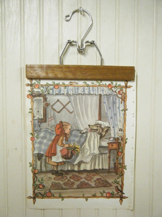 bogo vintage fairy tale little red riding hood storybook page