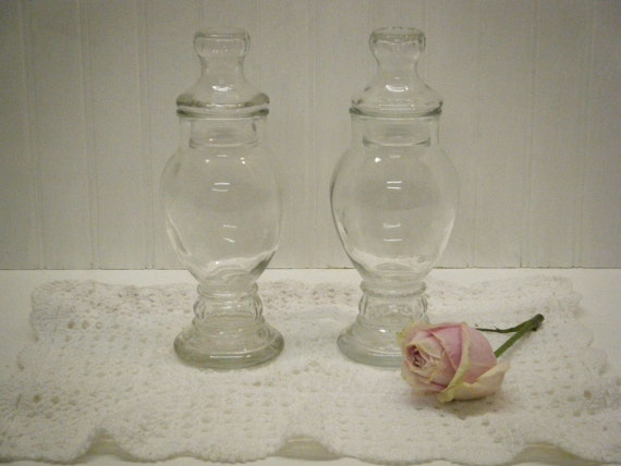 Pair of Two Clear Glass Drugstore Type Apothecary Jars Terrariums