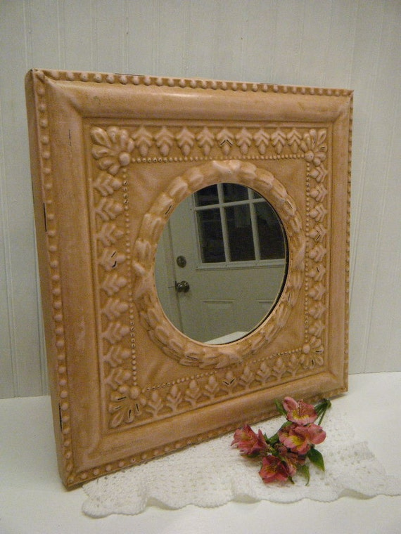 Reproduction Shabby Antiqued Pink Ceiling Tile Wall Mirror