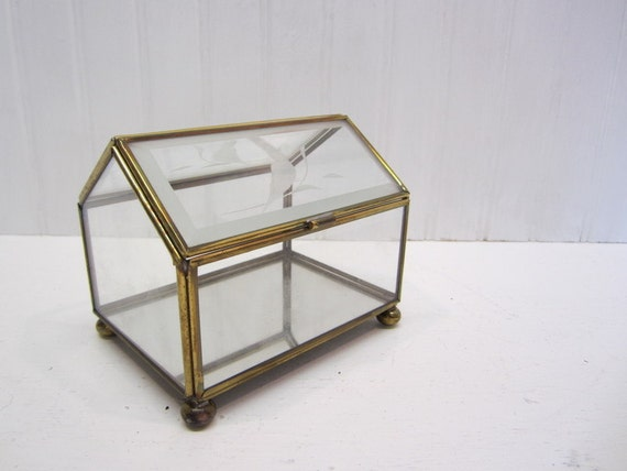 Vintage Brass, Glass and Mirror Display Cabinet with Etched Duck