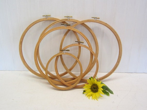 Set of 6 Round Wooden Embroidery Hoops 9 inch, 8 inch, 6 inch, 5 inch