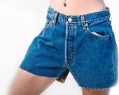 Vintage 1980s Blue High Waist Cut off Denim Shorts