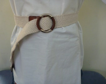 Vintage 1980s cream ecru woven belt leather gold buckle