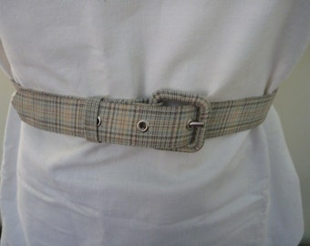 Vintage 1950s pale green plaid belt extra small