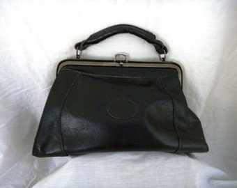 Vintage 1980s Black leather bag