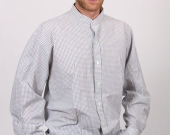 Vintage 1980s large Mens blue and white check long sleeved shirt