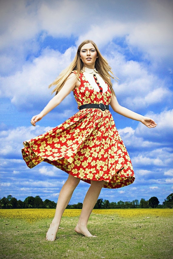 Vintage 1960's Red Yellow Flowers Vintage Dress